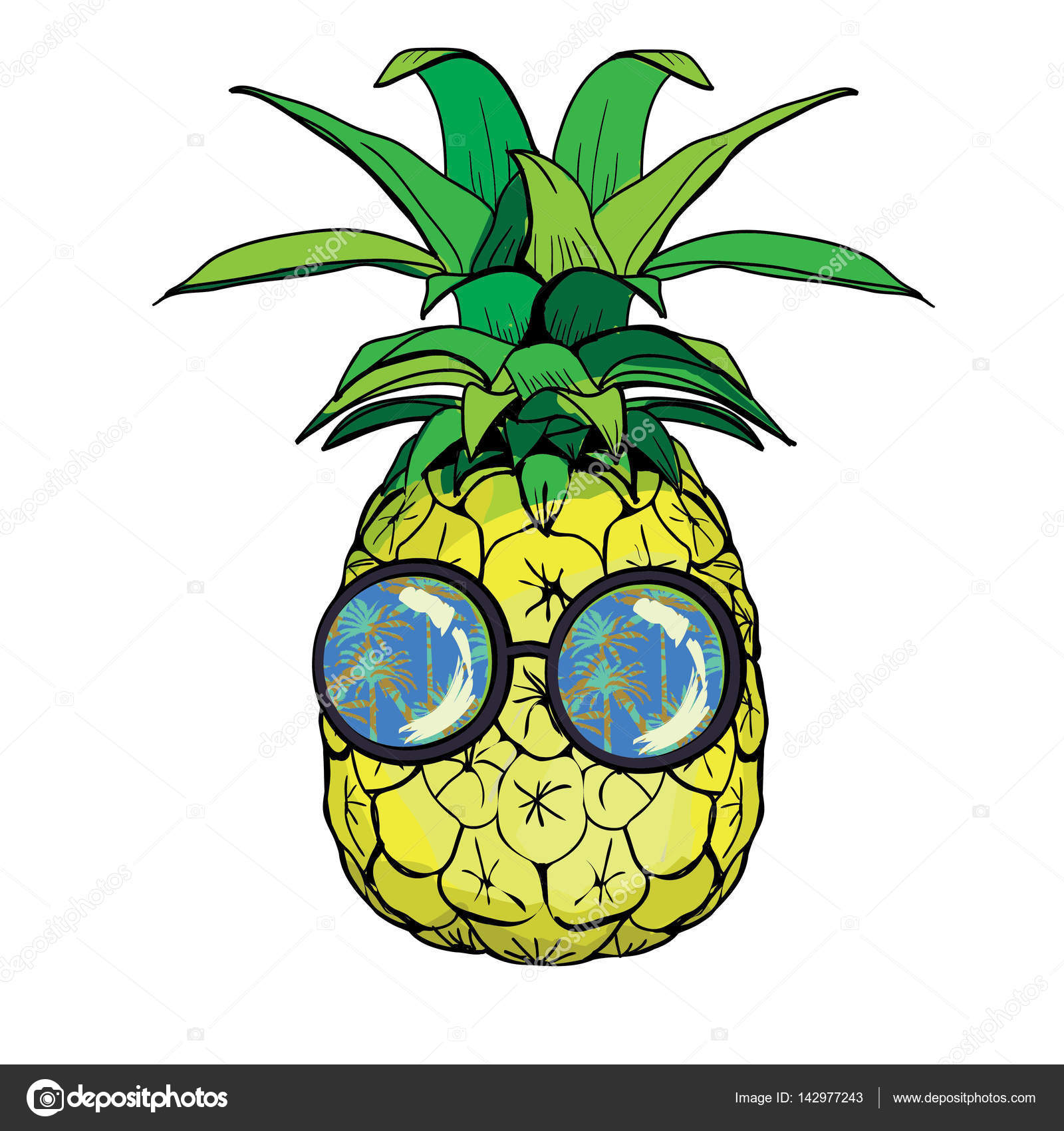 1d626fc06f9e Vector pineapple fruit with glasses illustration — Vector by 89534886399  mail.ru
