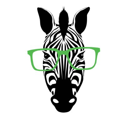 Black abstract zebra with glasses