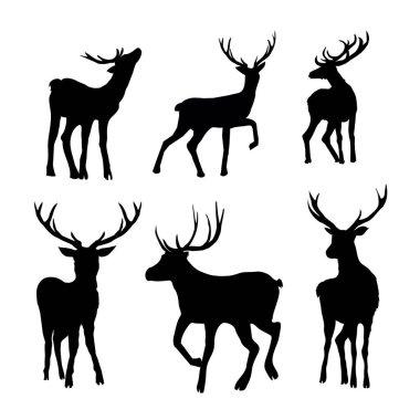 set of Black deer silhouettes