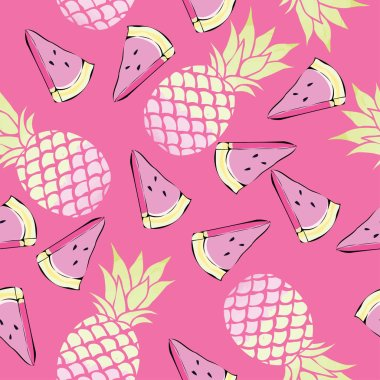 pineapples and watermelon seamless pattern