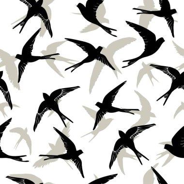 flying swallow birds seamless pattern