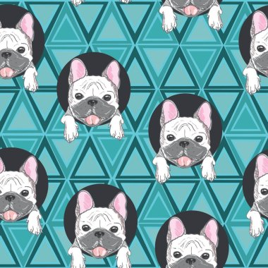 cute bulldogs seamless pattern