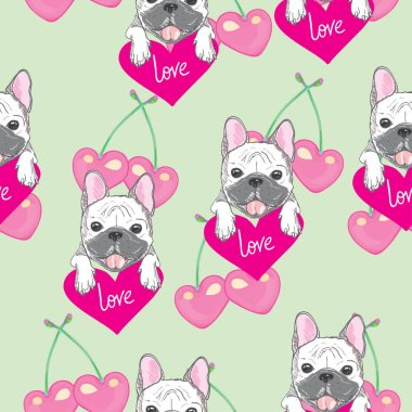 cute bulldogs seamless pattern