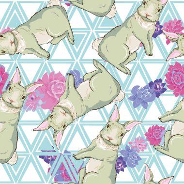 rabbits seamless pattern