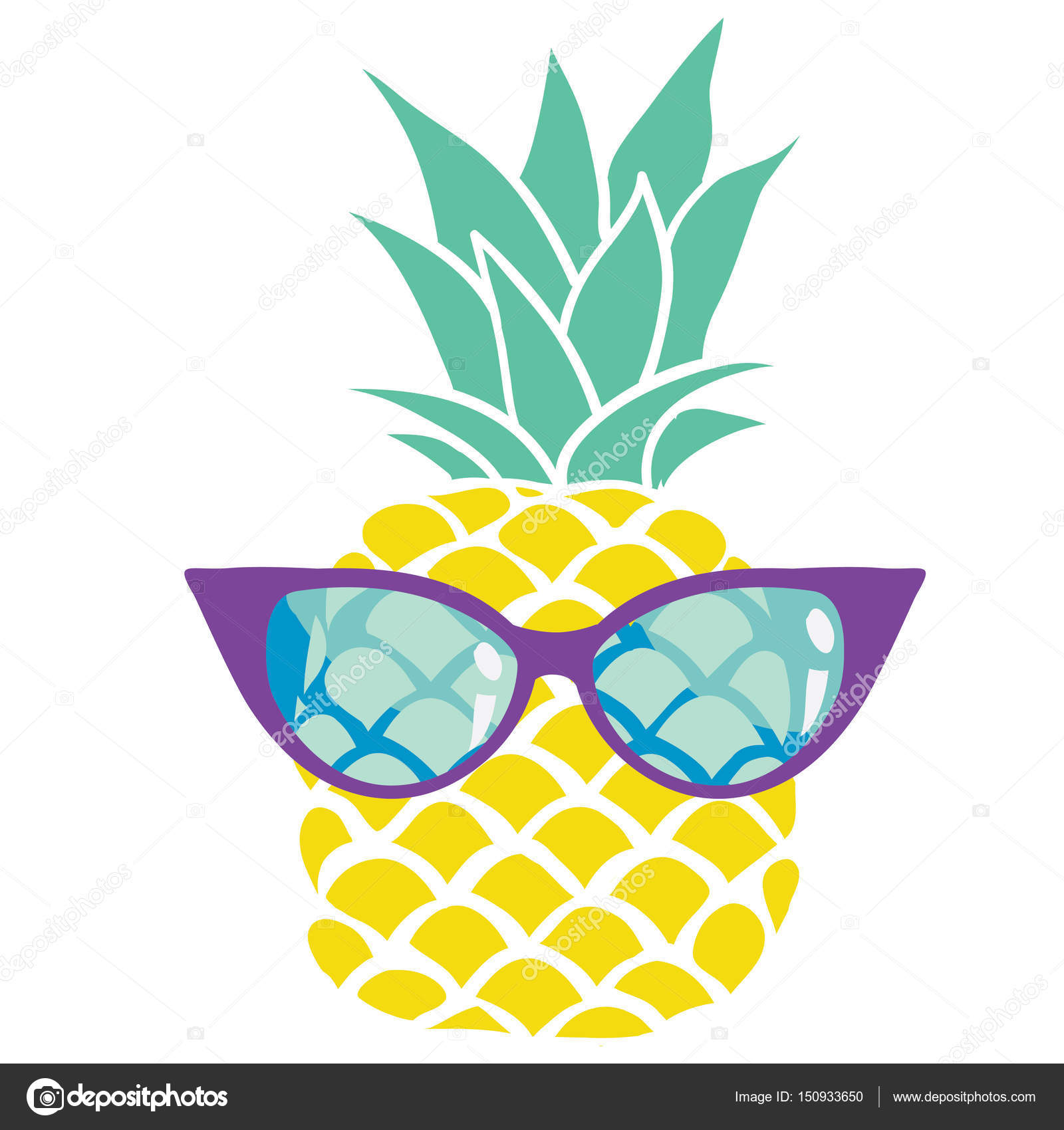 4b138fc6025c Colorful pineapple in eyeglasses — Stock Vector © 89534886399 mail ...