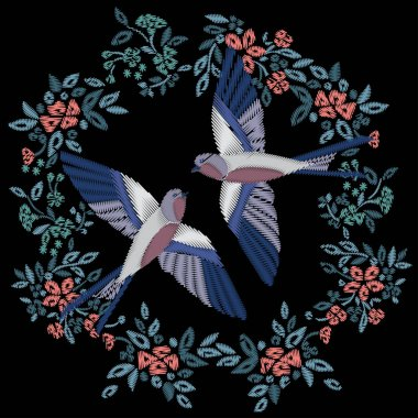 Birds swallows flowers embroidery