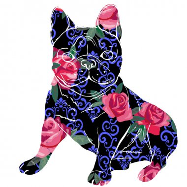 bulldog, puppy, dog, vector, illustration