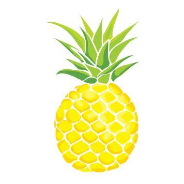 pineapple, fruit, white background, vector illustration