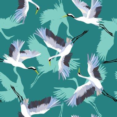 crane bird pattern, vector, illustration