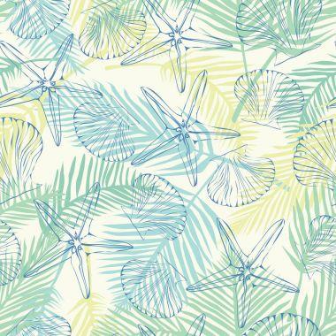 seashells, sea, starfish, pattern, vector, illustration
