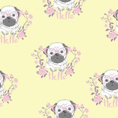 bulldog pattern, vector, illustration