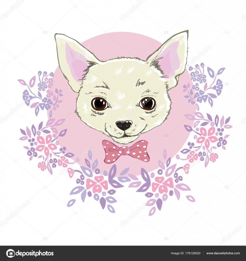 女の子チワワのイラストを印刷。かわいいおしゃれな犬ベクトル s