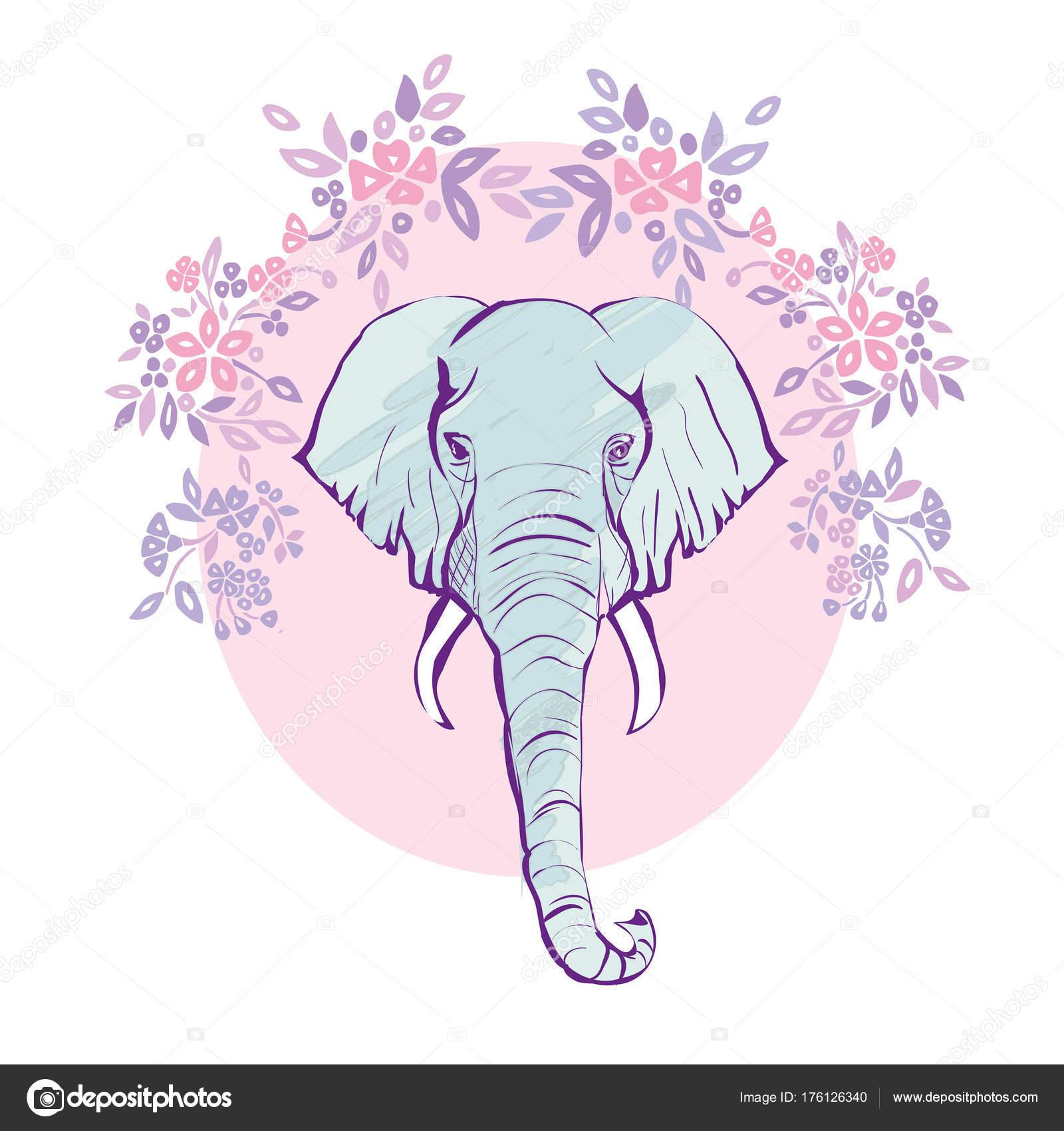 Lindo elefante con una mano de dibujos animados de flores dibujado ...