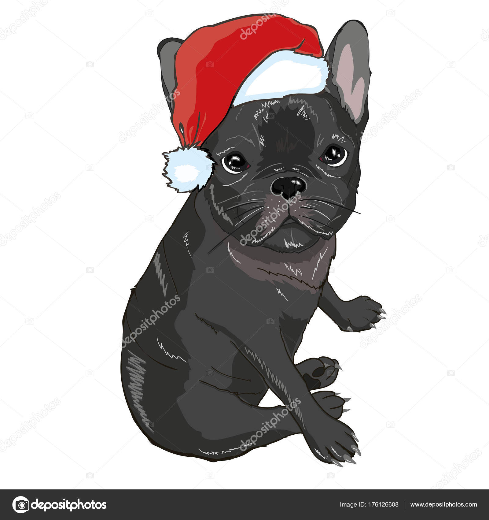 Christmas Greeting Card Pug Dog With Red Santa S Hat Stock Vector