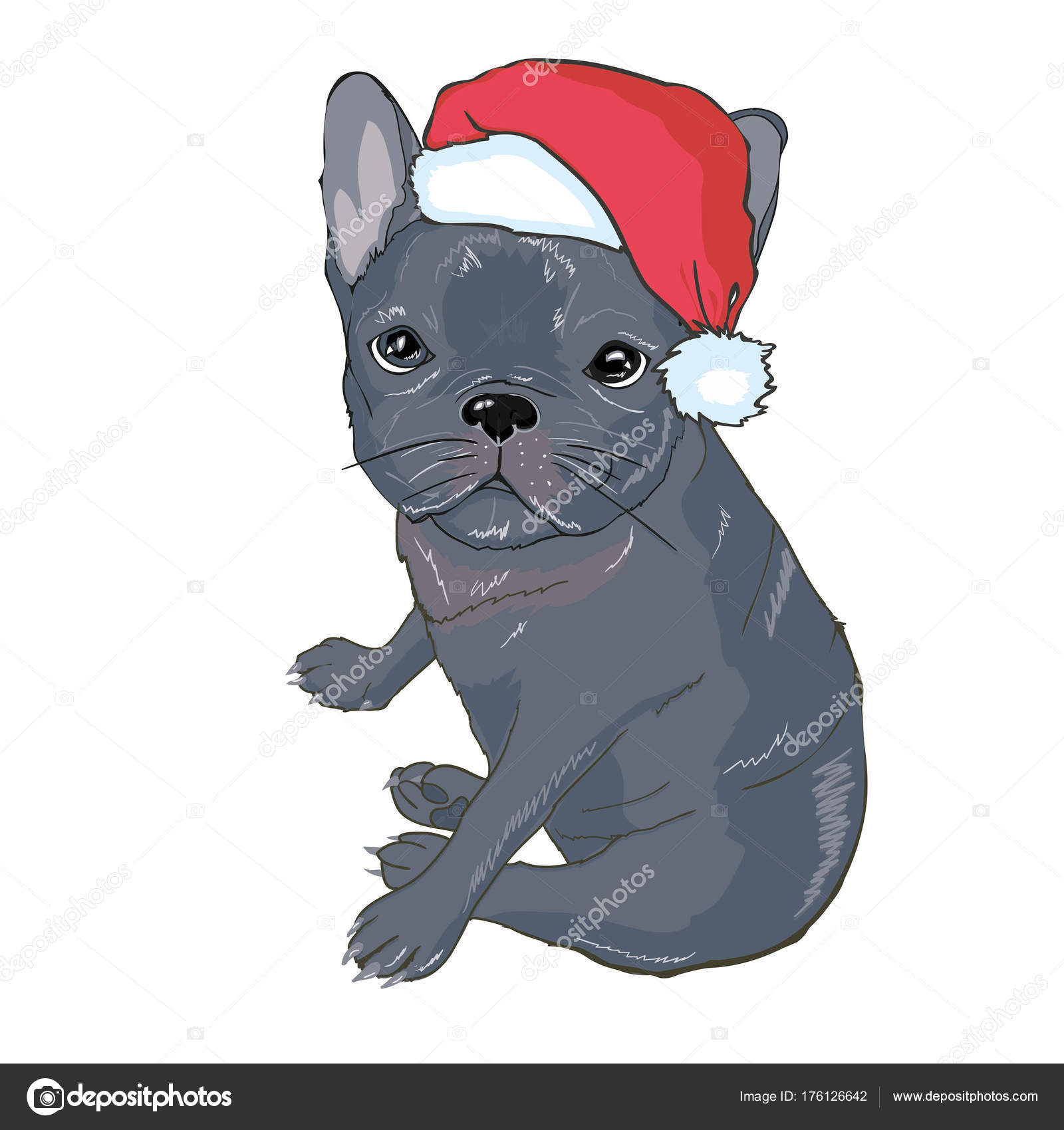 ea8e4627cf7 Christmas greeting card. Pug dog with red Santa s hat — Stock Vector ...