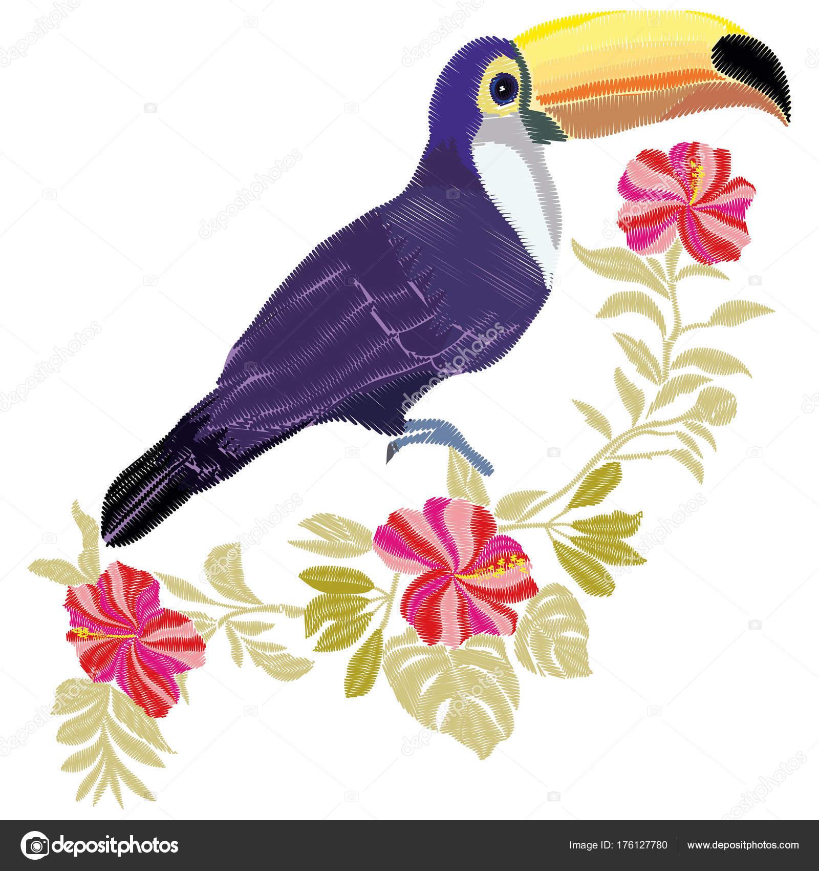 Bordado de tucán, vector, Ilustración, pájaro — Archivo Imágenes ...