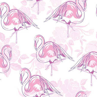 Beautiful seamless vector tropical pattern background with flami