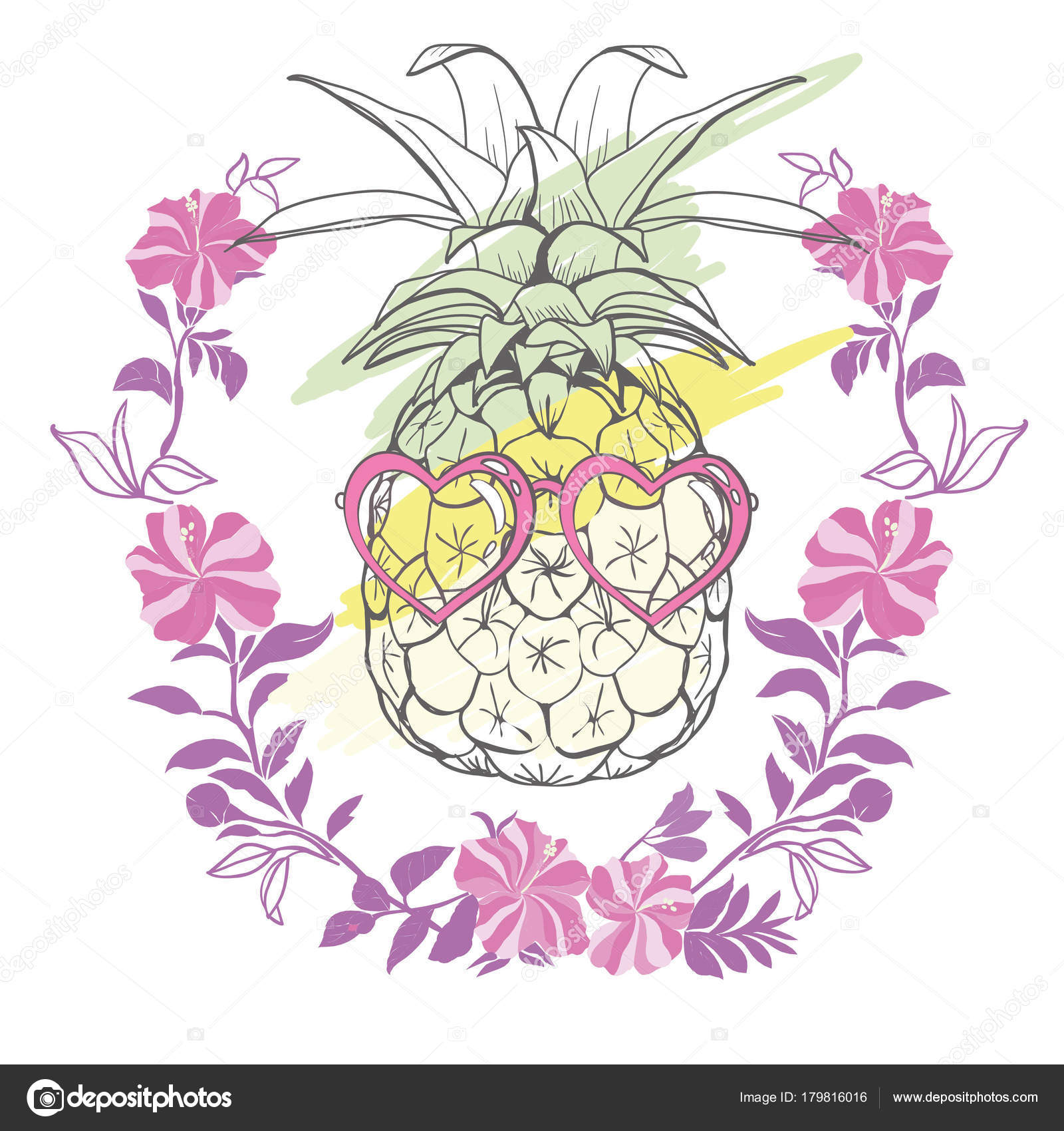 80d197b25112 Pineapple with sunglases and headphones. Summer consept. Vector  illustration. yellow