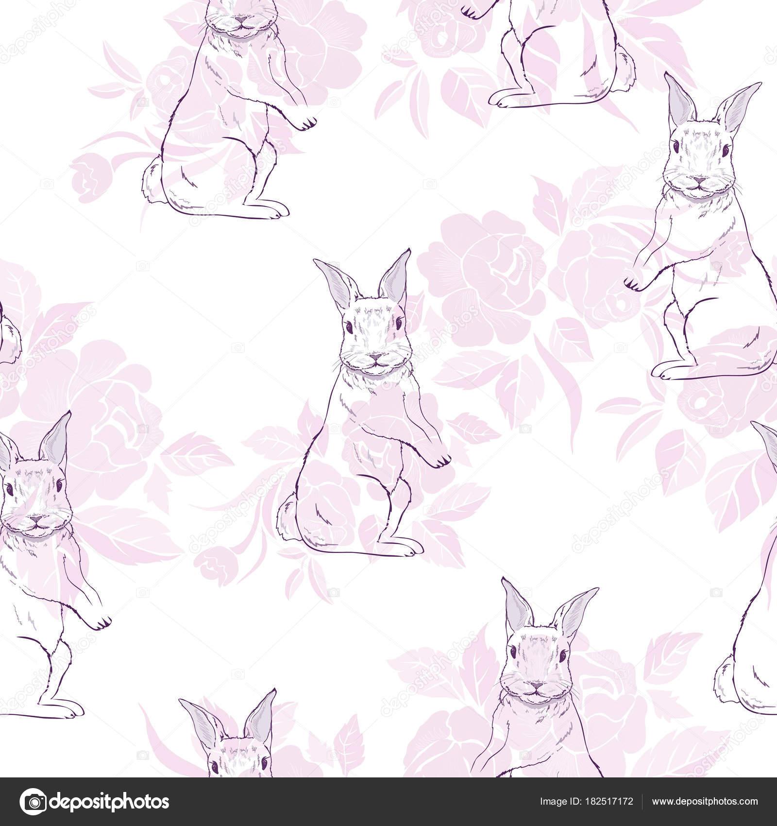 lindo de patrones sin fisuras con acuarela conejos. Conejitos de ...