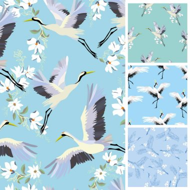 crane, pattern, vector, illustration, set