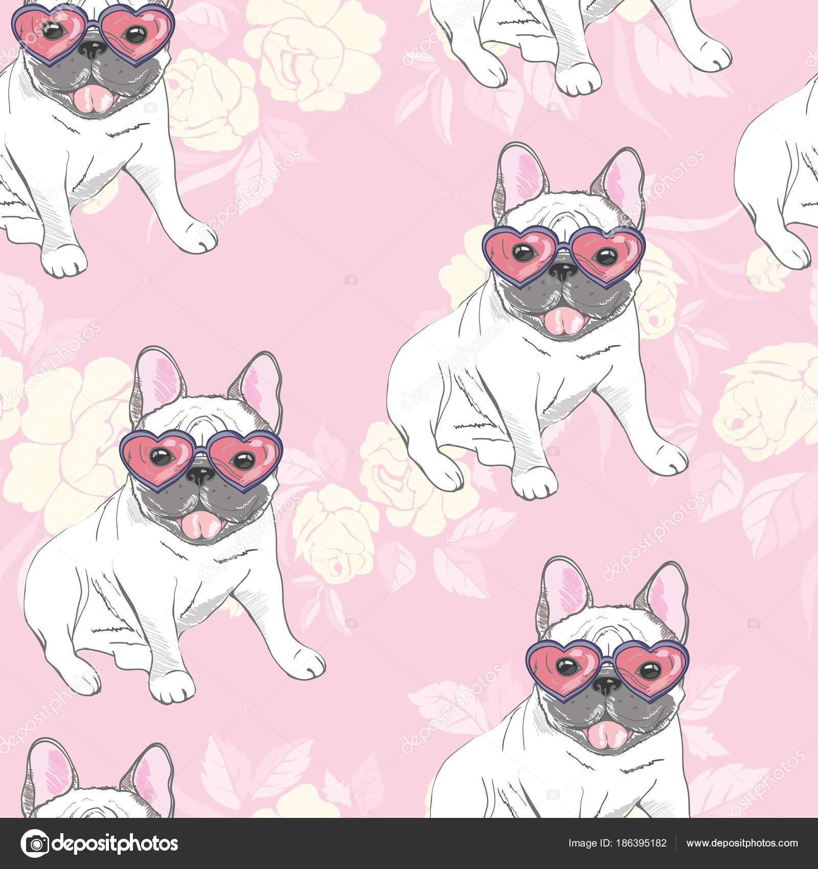 Pies Buldog Francuski Okulary Przeciwsłoneczne Serca Ikona