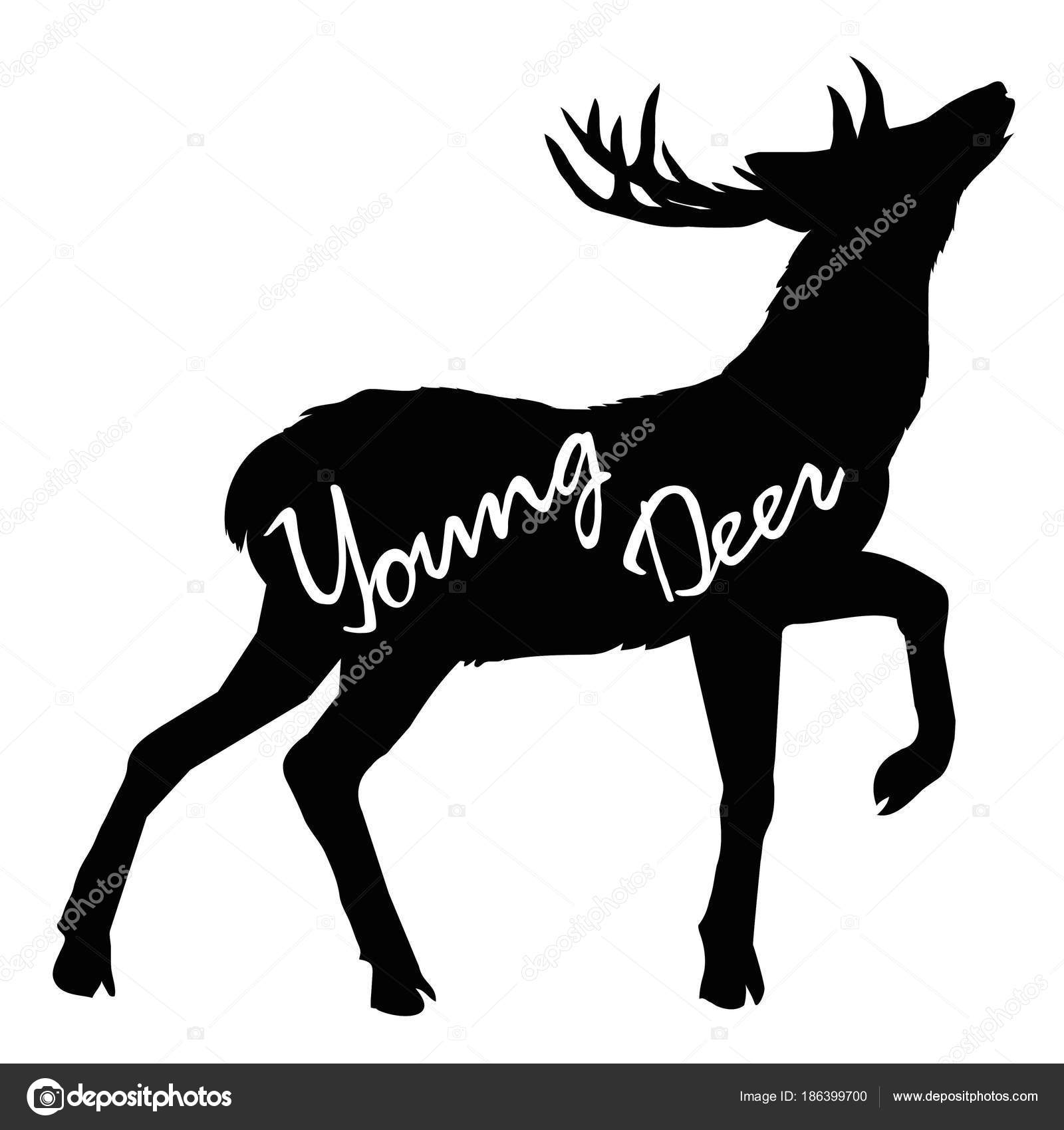 動物大きな枝角を持つ鹿のシルエット、ベクトル イラスト — ストック