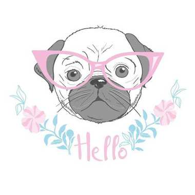 cute french bulldog princess, hand drawn graphic, animal illustration