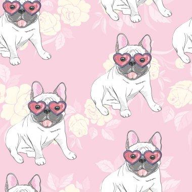 dog. french bulldog. heart sunglasses. glasses icon. illustration seamless pattern wallpaper background
