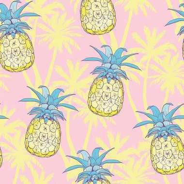 Pineapples background. Vector seamless pattern with tropical fruit. Black and white. Sketch illustration.