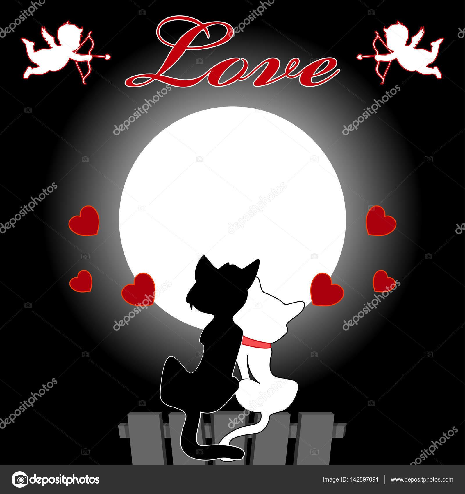 Disegni Gatti Innamorati Coppie Di Gatti E Topi Seduto Sul Tetto E