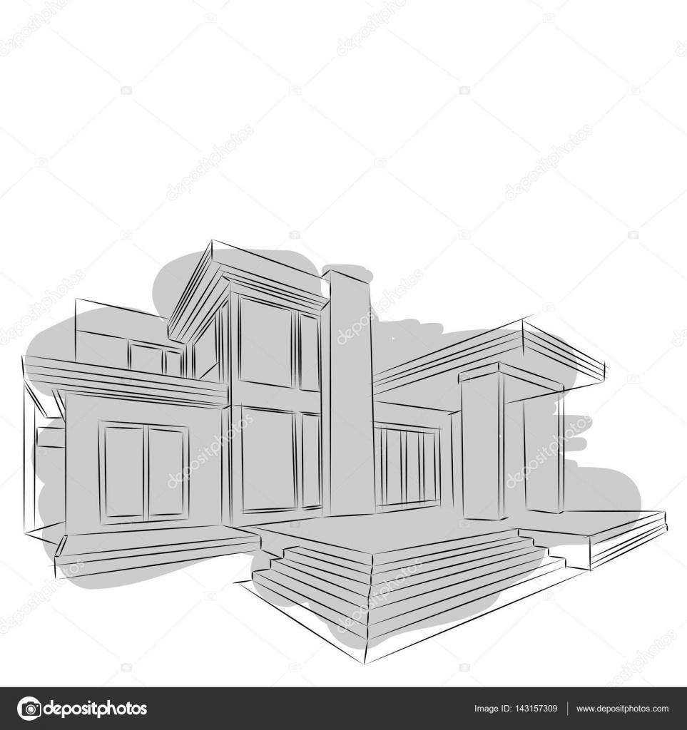 Architektur Skizze Zeichnung Des Gebaudes Stadt Vektor Von Slobodyan 78