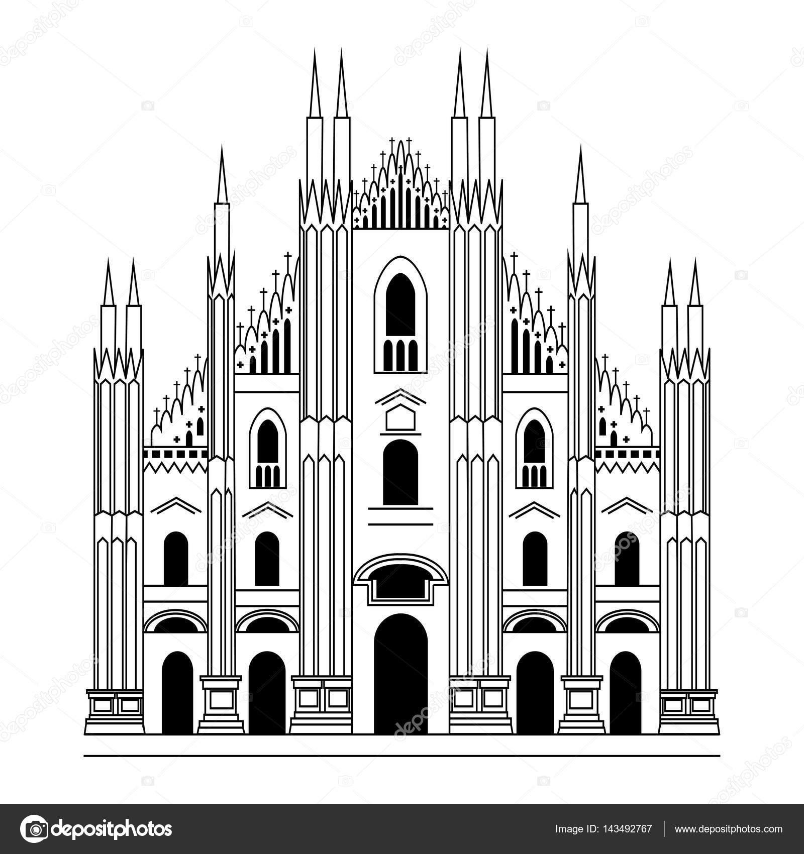Duomo di milano architettura gotica illustrazione for Architettura disegnata