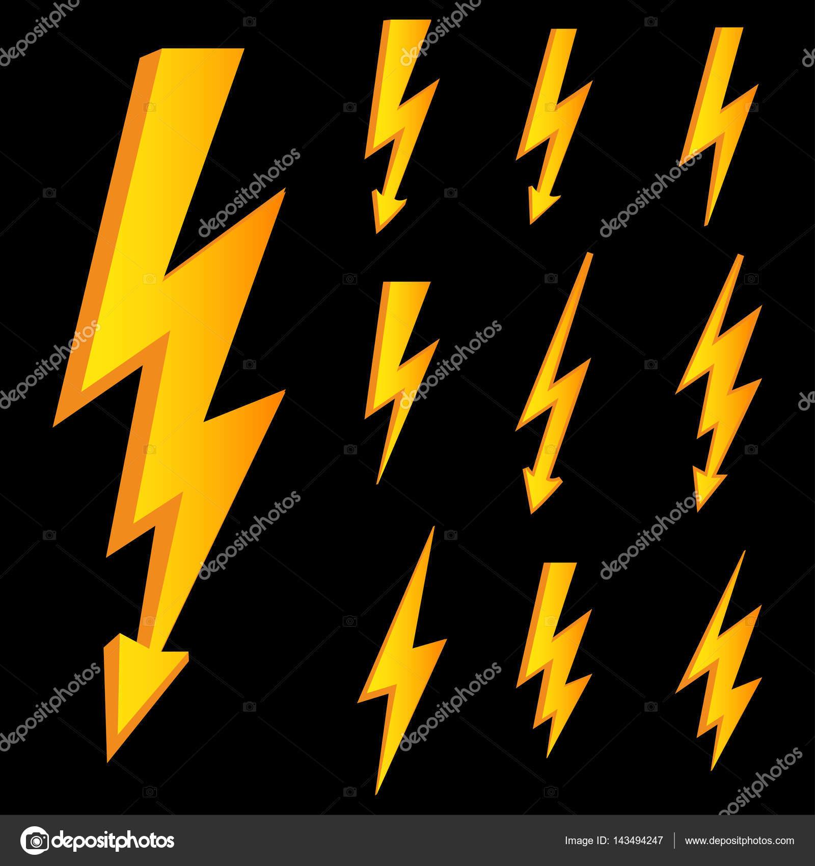 Satz von Zeile Symbole für Blitz, Blitzschlag oder Gewitter ...