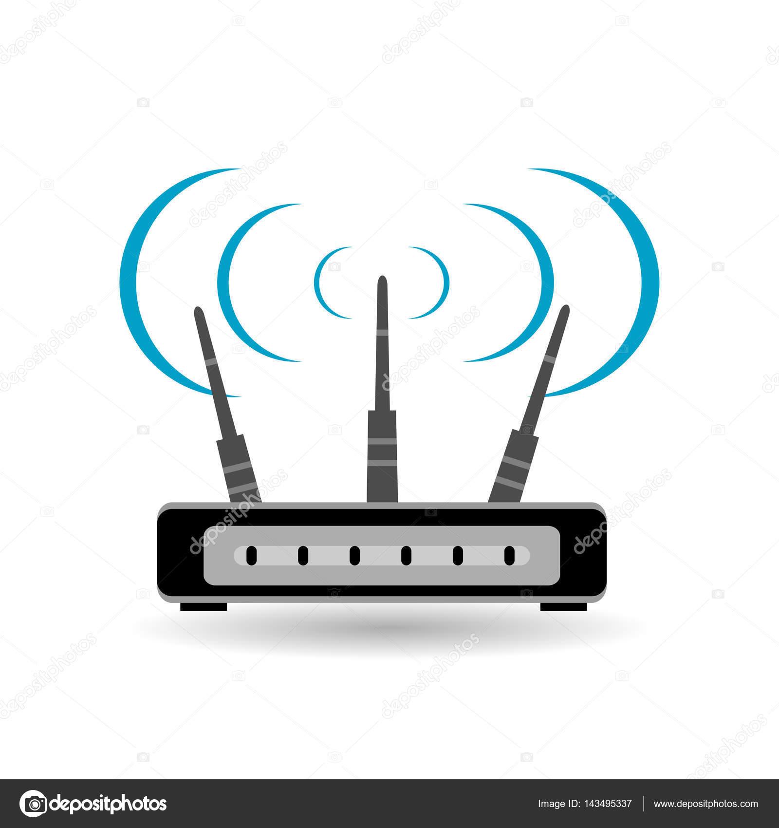 Router-flach-Symbol. Router-Symbol mit langen Schatten. WLAN-router ...