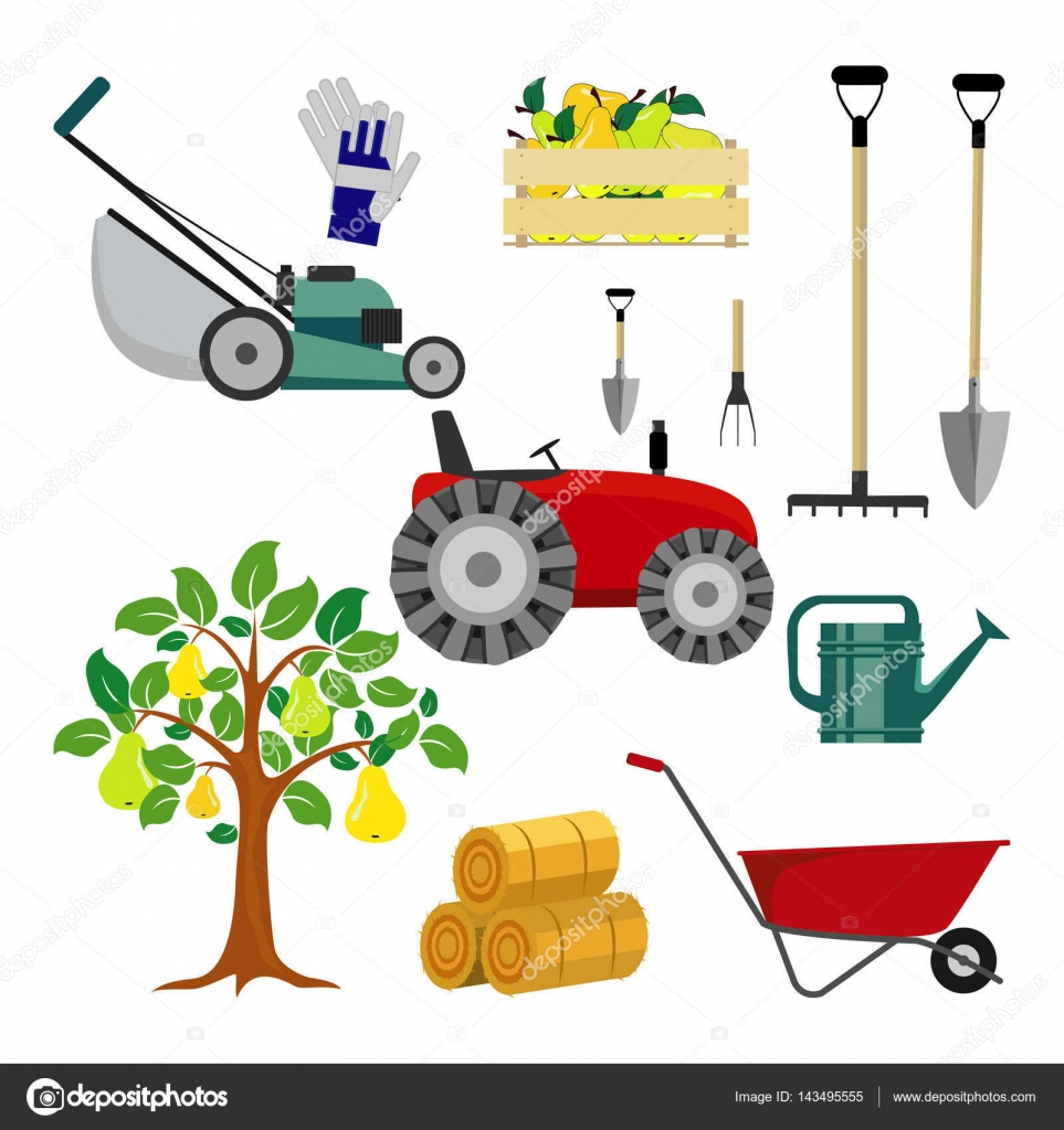 Set farm tools flat vector illustration garden for Agriculture garden tools
