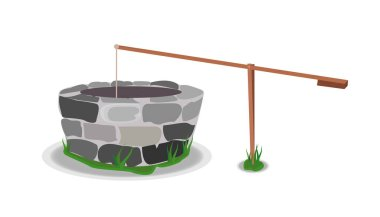 Stone And Wood Water Well/