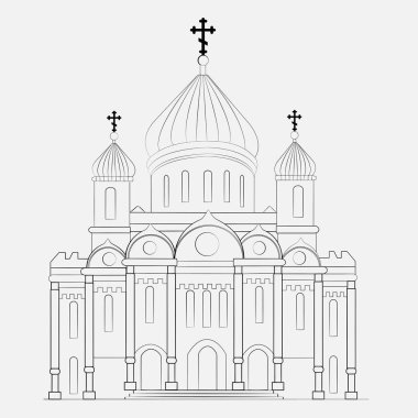 Russian orthodox church icon isolated on white background. Vector illustration for religion architecture design. Christianity, cross, dome, golden cupola Famous temple moscow chapel landmark monastery