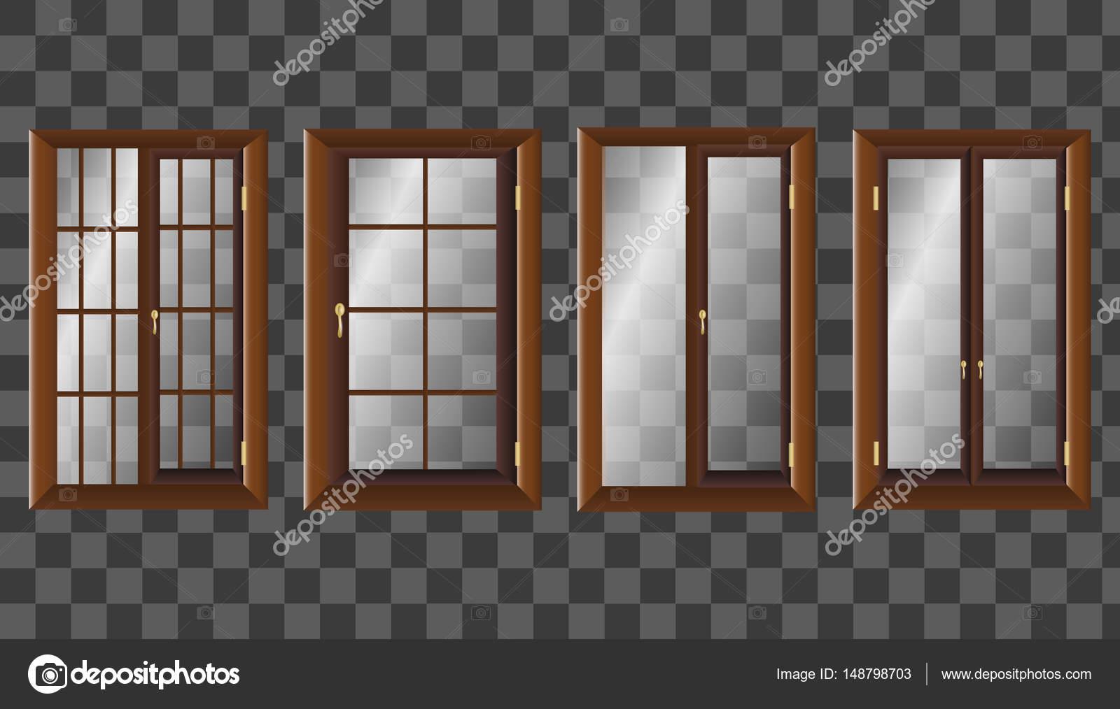 透明なガラスとモダンな木製ワイド スライディング ウィンドウベクトル