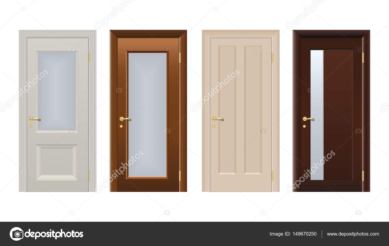 colores puertas para casas y edificios situado en estilo de diseo plano aislado ilustracin del vector conjunto de modernas puertas colores aislados en