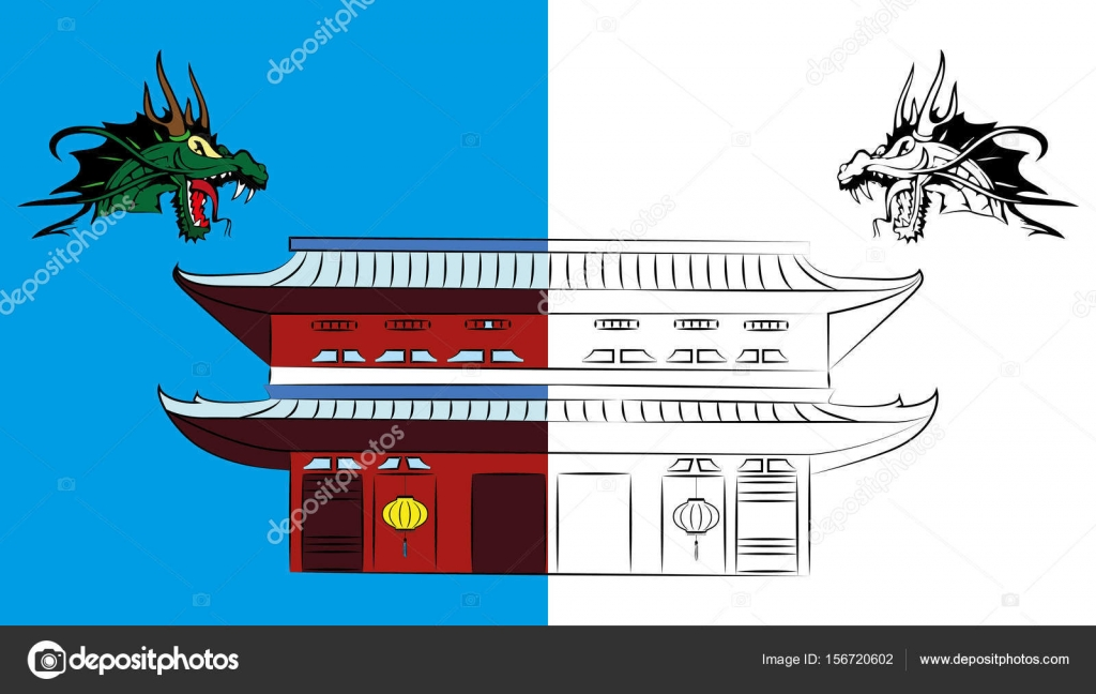 Malvorlagen für Kinder Japan mit Drachen — Stockvektor ...