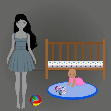 Mother suffering postpartum depression after birth of child