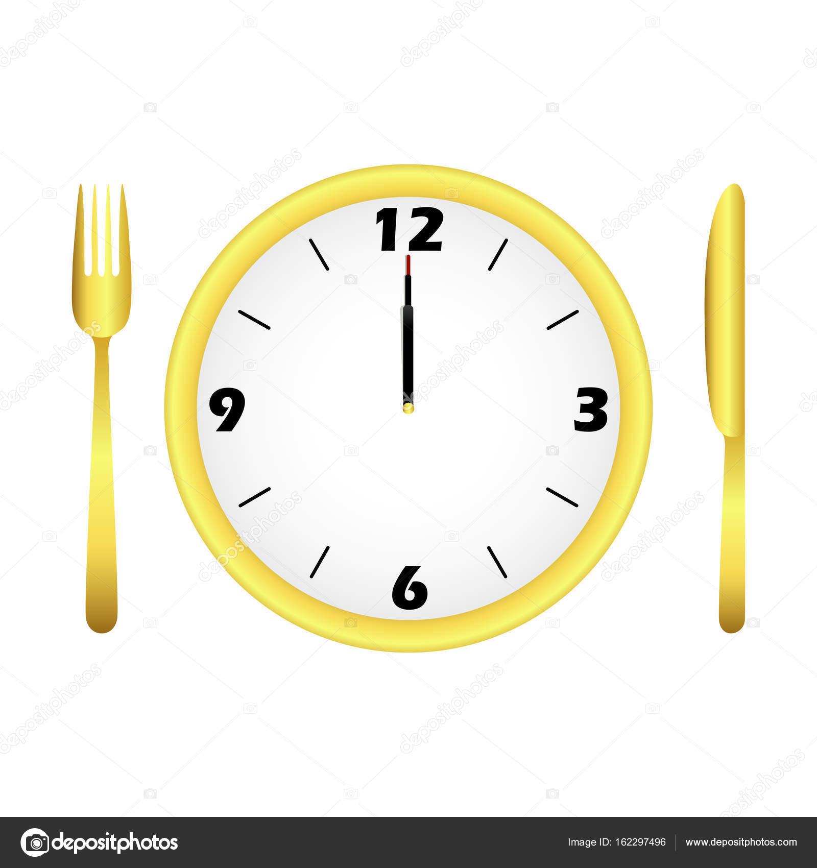 ランチ時間の概念。ベクトル時間を示すダイニング セットアップの