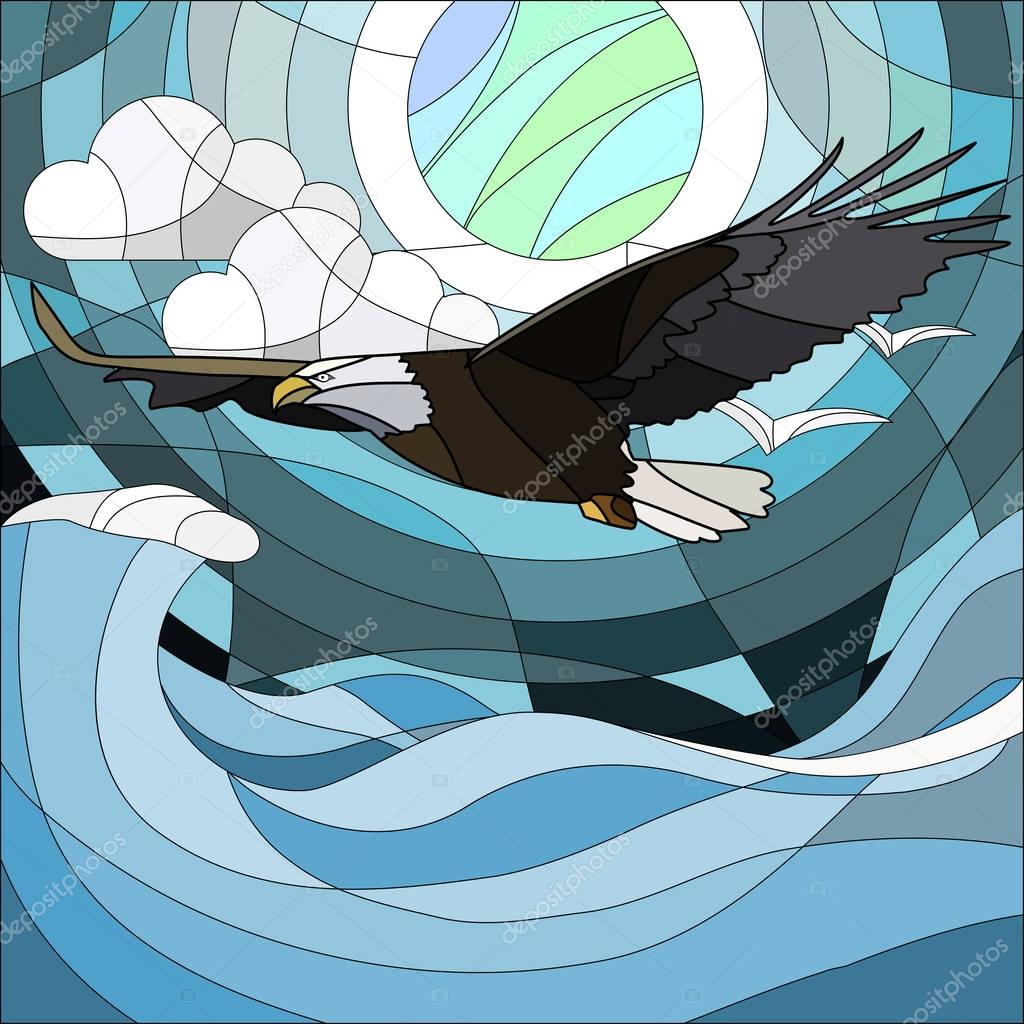 Illustration in stained glass style with fabulous eagle and moon on background night star sky and clouds