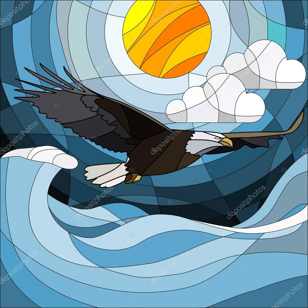 Illustration in stained glass style eagle on the background of sky, sun , clouds and water