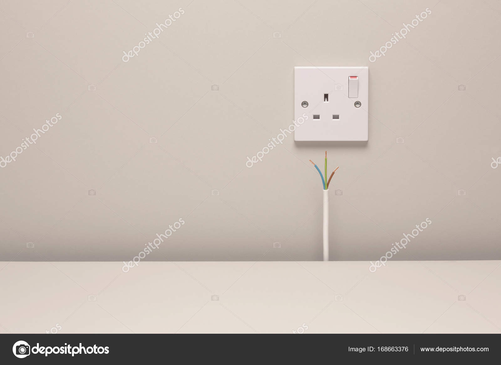 Bare Wires And Electrical Wall Socket Stock Photo Imagesource Wiring Outlets