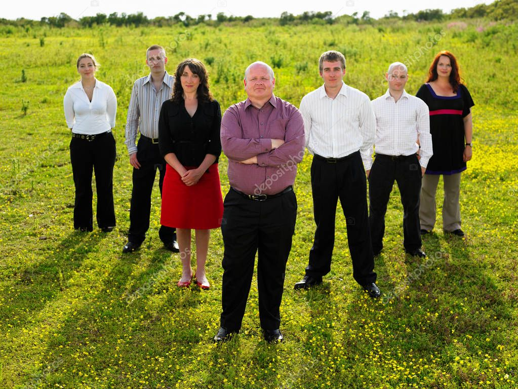 Group of businesspeople in a field.