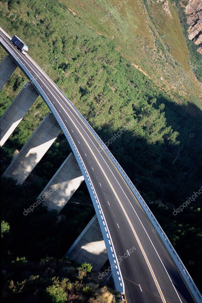 Traffic bridge over woods