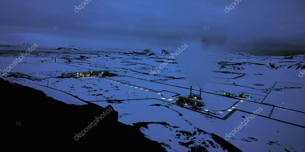 Aerial view of rural power station in winter time