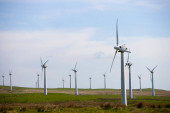 Blick auf Windkraftanlagen.
