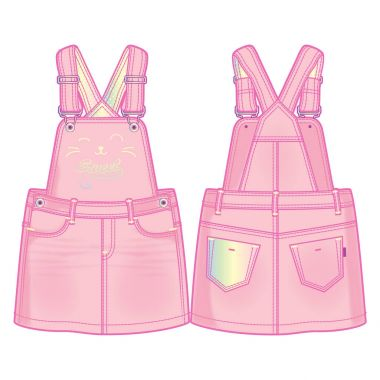 Bib overall dress. Cute kitty's face decoration in front